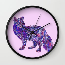 Fox by Night Wall Clock