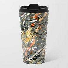 Jackson Pollock Interpretation Acrylics On Canvas Splash Drip Action Painting Metal Travel Mug
