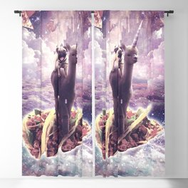 Space Pug Riding Alpaca Unicorn - Pizza & Taco Blackout Curtain