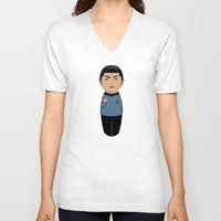 spock V-neck T-shirts featuring Kokeshi Spock by Pendientera