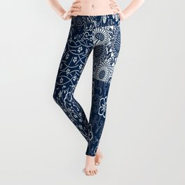 Japanese Flow Patch Blue Seamless Patterns Symbols Leggings