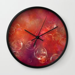 Into the red space surreal bubbles Wall Clock