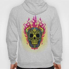 Flaming Skull White Hoody