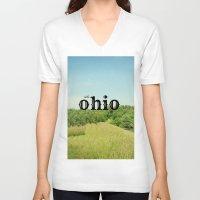 ohio V-neck T-shirts featuring Hello Ohio by KimberosePhotography