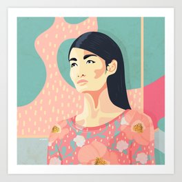 Spring model with bold colors and flower pattern Art Print