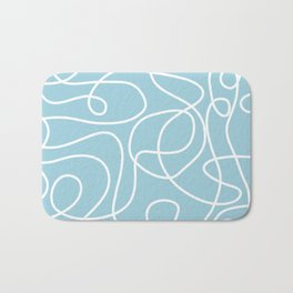 Doodle Line Art | White Lines on Baby Blue Bath Mat