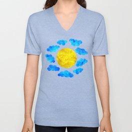 Cute blue cartoon clouds and sun. Unisex V-Neck