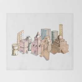 the city painted in pastel colours . illustration . art Throw Blanket