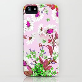 Elegant white Sunflowers and Pink floral garland iPhone Case