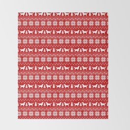 Golden Retriever Silhouettes Christmas Sweater Pattern Throw Blanket