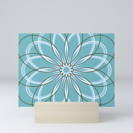 Turquoise Retro Geometric Flower - c13271.8 Mini Art Print