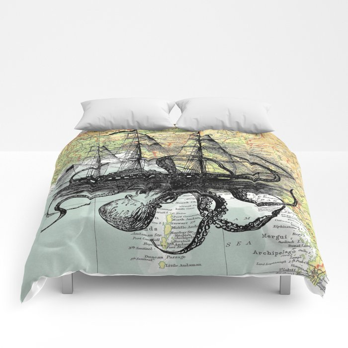 Octopus Attacks Ship on map background Comforters