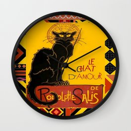 Le Chat Noir D'Amour With Ethnic Border Wall Clock