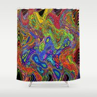 psychedelic Shower Curtains featuring Psychedelic by Frankie Cat
