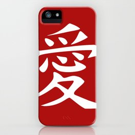 The word LOVE in Japanese Kanji Script - LOVE in an Asian / Oriental style writing. White on Red iPhone Case