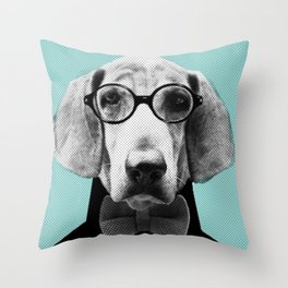 Mr Italian Bloodhound the Hipster Throw Pillow