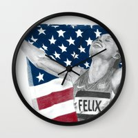 allyson johnson Wall Clocks featuring Allyson Felix by Moira Sweeney