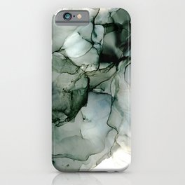 Charcoal Wisp: Original Abstract Alchol Ink Painting iPhone Case