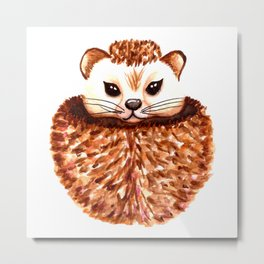 Cup Of Cuteness Hedgehog Metal Print