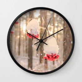 Rowan berries in the snow Wall Clock