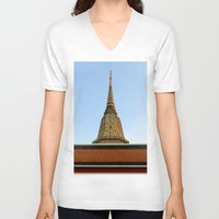 thailand V-neck T-shirts featuring temple in thailand by habish