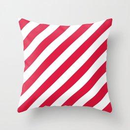 Diagonal Stripes (Crimson/White) Throw Pillow