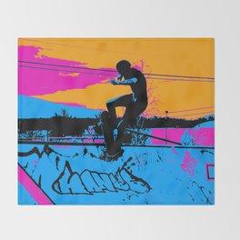On Edge - Skateboarder Throw Blanket