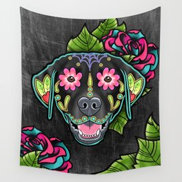Labrador Retriever - Black Lab - Day of the Dead Sugar Skull Dog Wall Tapestry