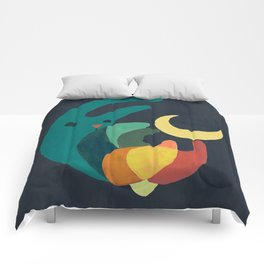 Rabbit and crescent moon Comforters