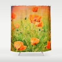 poppies Shower Curtains featuring POPPIES by Teresa Chipperfield Studios