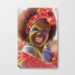 Life's a Carnival (Carnaval de Barranquilla) - Negrita Puloy Impressionism - Magical Realism Metal Print
