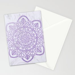 Lavender Mandala on White Marble Stationery Cards