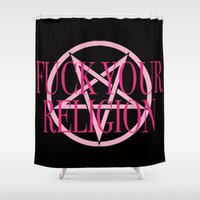religion Shower Curtains featuring Fuck Your Religion - Pink & Black by Clare Chapman