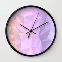 polygon Wall Clocks featuring pastel polygon by artsimo