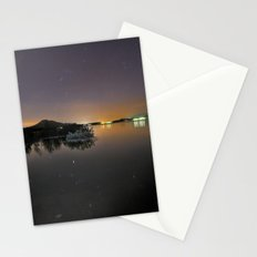 The Big star Sirius the Costelation of Orion and Taurus  reflected at the lake Stationery Cards