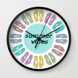 Summer vibes in flip flops Wall Clock