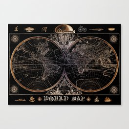 world map old vintage black Canvas Print