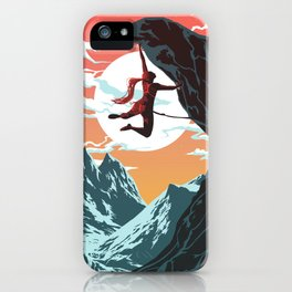 Rock Climbing Girl Vector Art iPhone Case
