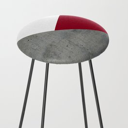 Concrete Burgundy Red White Counter Stool