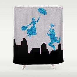 Mary Poppins glittsy Blue Shower Curtain