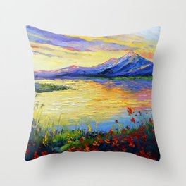 Flowers on the shore of the lake Throw Pillow