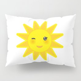 funny cartoon yellow sun smiling and winking eyes and pink cheeks, sun on white background Pillow Sham