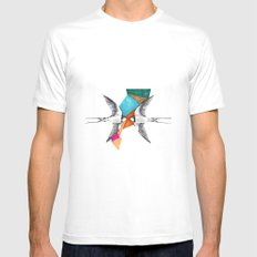 Swallows, geometric drawing Mens Fitted Tee MEDIUM White