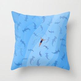 Shark Beach Swimmer  Throw Pillow