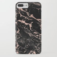 Modern girly faux rose gold foil black marble iPhone 7 Plus Slim Case