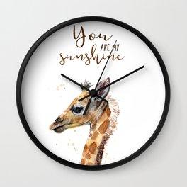 You Are My Sunshine Giraffe Nursery Animals Watercolor Art Wall Clock