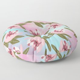 Pink teal watercolor brushstrokes water lilies floral Floor Pillow