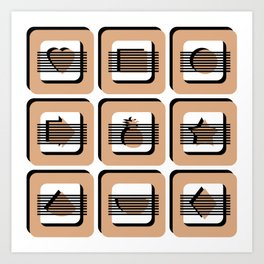 Boxed - Black White & Caramel Art Print