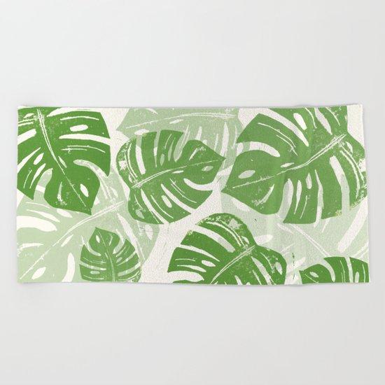 Linocut Monstera Leaf Pattern Beach Towel