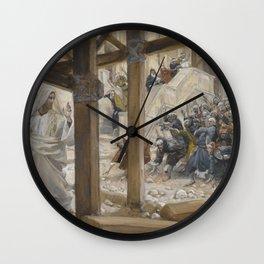 James Tissot - The Jews Took Up Rocks to Stone Jesus (Les juifs prirent des pierres pour lapider Jes Wall Clock